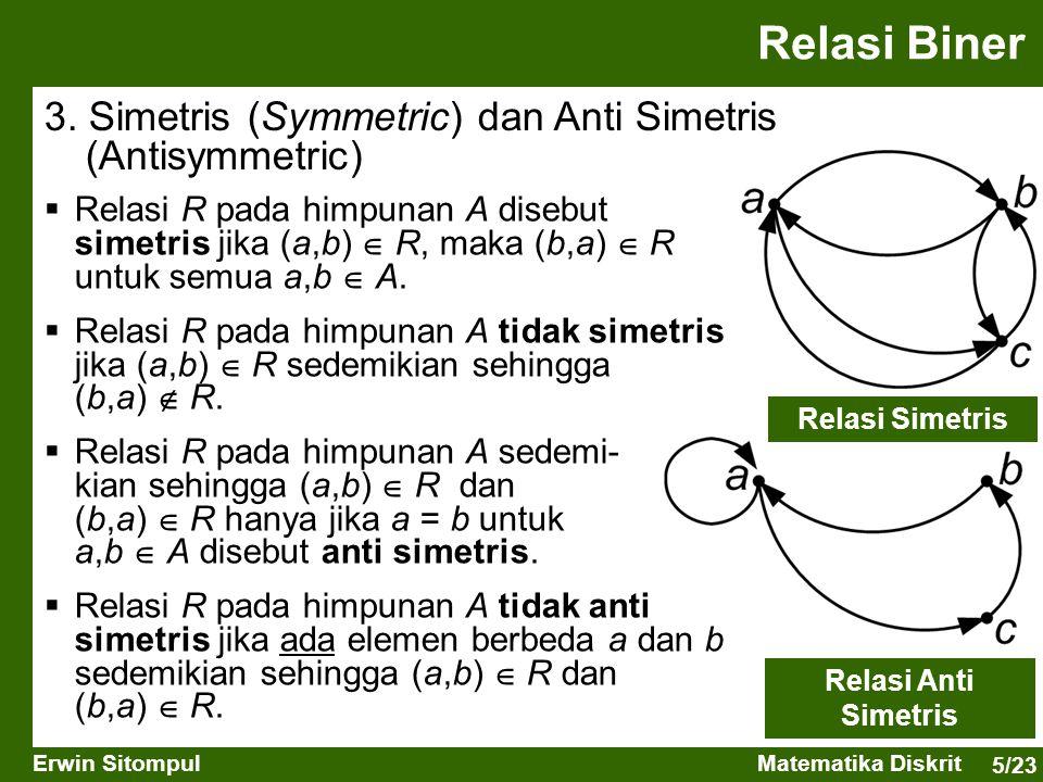 5/23 Erwin SitompulMatematika Diskrit  Relasi R pada himpunan A disebut simetris jika (a,b)  R, maka (b,a)  R untuk semua a,b  A.  Relasi R pada