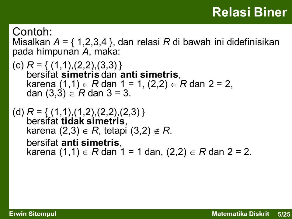 5/25 Erwin SitompulMatematika Diskrit Contoh: Misalkan A = { 1,2,3,4 }, dan relasi R di bawah ini didefinisikan pada himpunan A, maka: (c)R = { (1,1),
