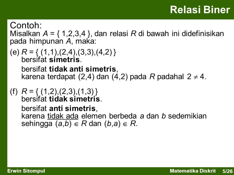 5/26 Erwin SitompulMatematika Diskrit Relasi Biner Contoh: Misalkan A = { 1,2,3,4 }, dan relasi R di bawah ini didefinisikan pada himpunan A, maka: (e