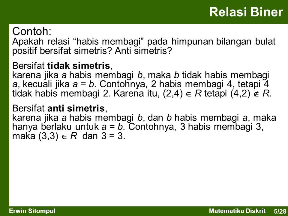 """5/28 Erwin SitompulMatematika Diskrit Relasi Biner Contoh: Apakah relasi """"habis membagi"""" pada himpunan bilangan bulat positif bersifat simetris? Anti"""