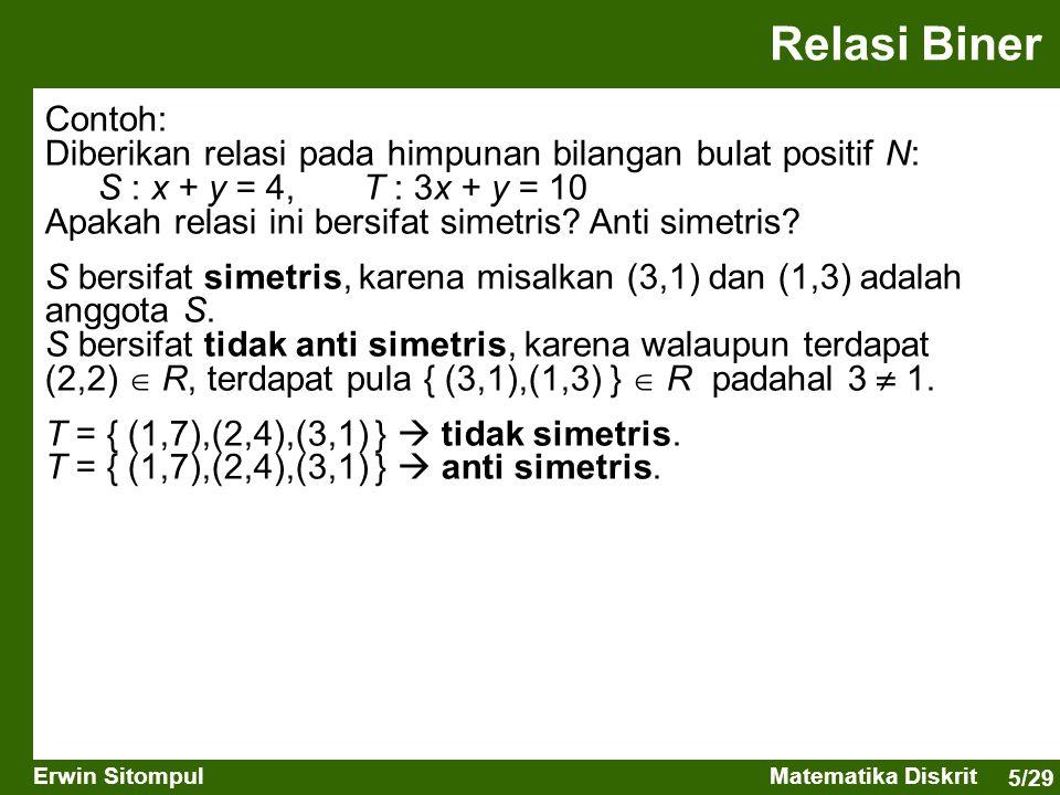 5/29 Erwin SitompulMatematika Diskrit Relasi Biner Contoh: Diberikan relasi pada himpunan bilangan bulat positif N: S : x + y = 4,T : 3x + y = 10 Apak