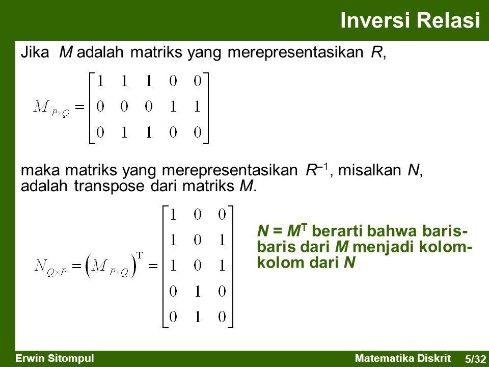 5/32 Erwin SitompulMatematika Diskrit Inversi Relasi Jika M adalah matriks yang merepresentasikan R, maka matriks yang merepresentasikan R –1, misalka