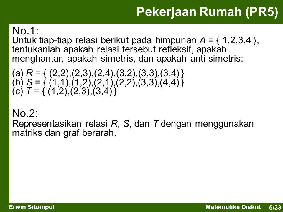 5/33 Erwin SitompulMatematika Diskrit Pekerjaan Rumah (PR5) Untuk tiap-tiap relasi berikut pada himpunan A = { 1,2,3,4 }, tentukanlah apakah relasi te