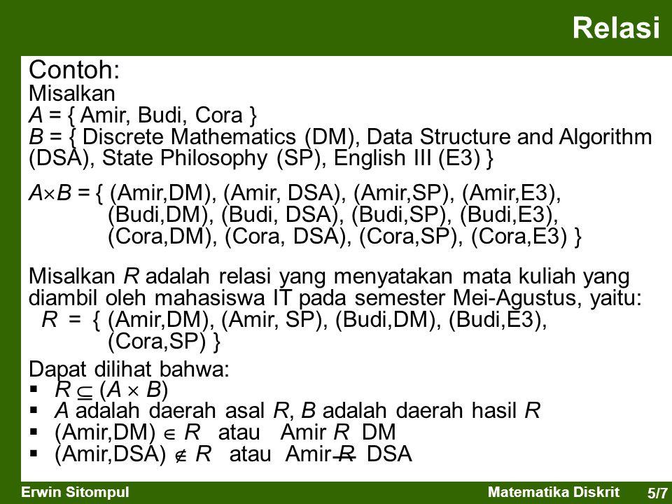 5/7 Erwin SitompulMatematika Diskrit Contoh: Misalkan A = { Amir, Budi, Cora } B = { Discrete Mathematics (DM), Data Structure and Algorithm (DSA), St