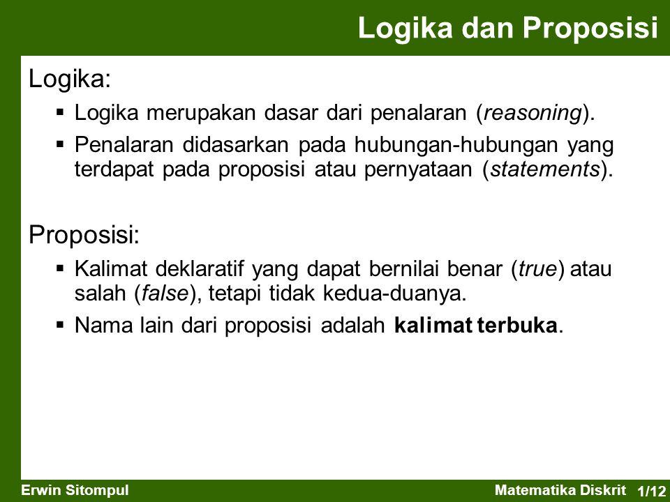 1/12 Erwin SitompulMatematika Diskrit Logika dan Proposisi Logika:  Logika merupakan dasar dari penalaran (reasoning).  Penalaran didasarkan pada hu