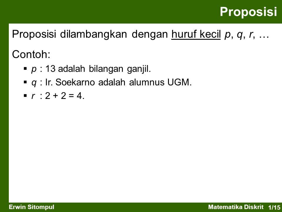 1/15 Erwin SitompulMatematika Diskrit Proposisi Contoh:  p : 13 adalah bilangan ganjil.  q : Ir. Soekarno adalah alumnus UGM.  r : 2 + 2 = 4. Propo