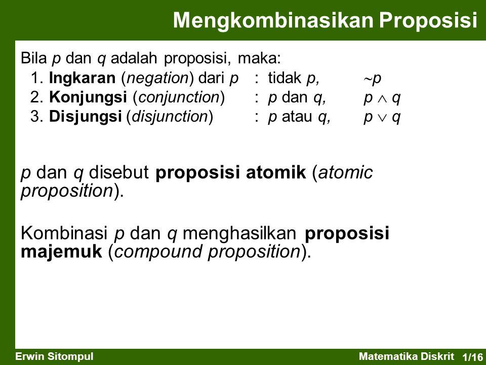 1/16 Erwin SitompulMatematika Diskrit Mengkombinasikan Proposisi Bila p dan q adalah proposisi, maka: 1. Ingkaran (negation) dari p: tidak p,  p 2. K