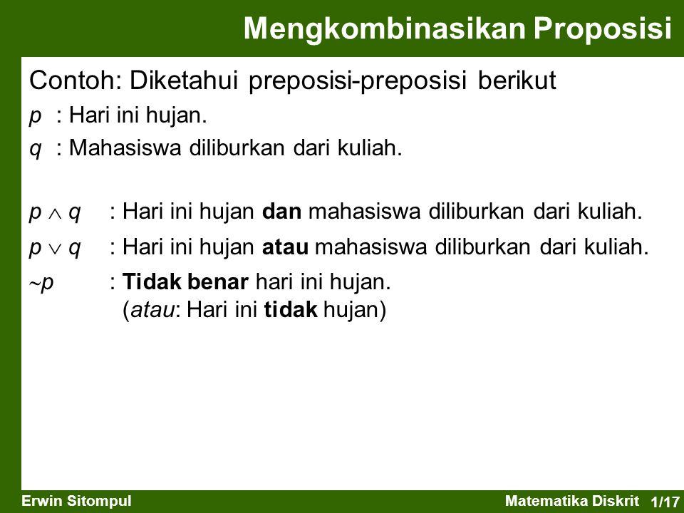 1/18 Erwin SitompulMatematika Diskrit Contoh: Diketahui preposisi-preposisi berikut p : Pemuda itu tinggi.