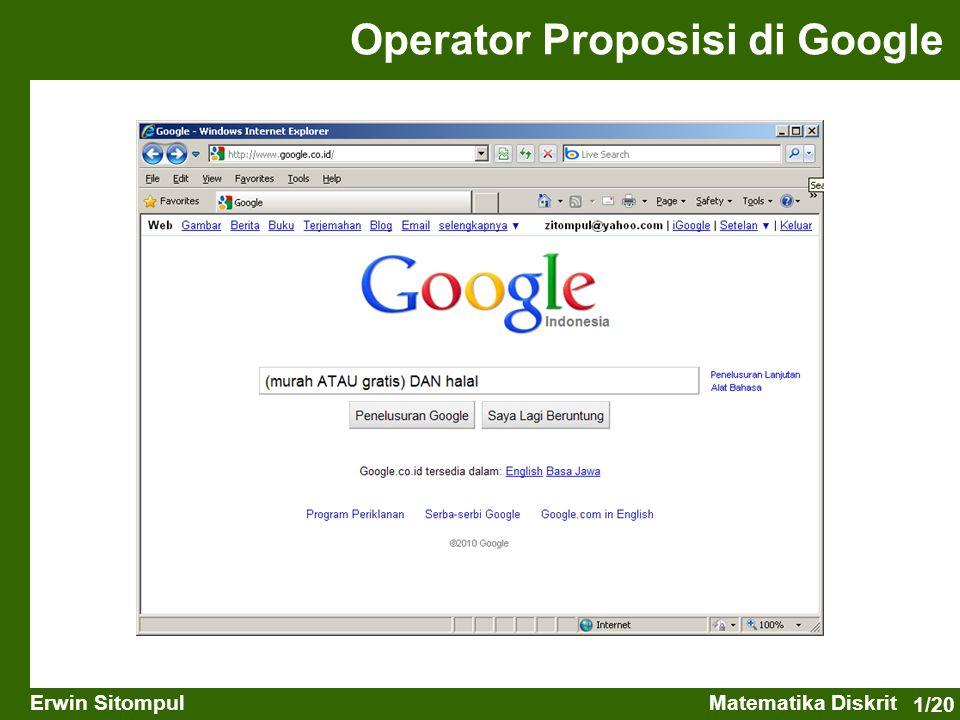 1/20 Erwin SitompulMatematika Diskrit Operator Proposisi di Google