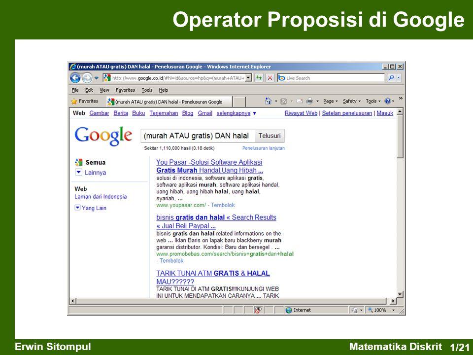 1/21 Erwin SitompulMatematika Diskrit Operator Proposisi di Google