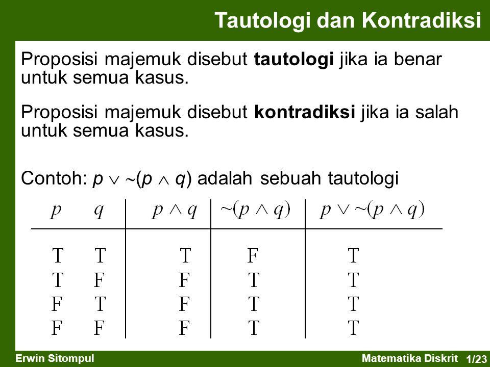 1/23 Erwin SitompulMatematika Diskrit Proposisi majemuk disebut tautologi jika ia benar untuk semua kasus. Proposisi majemuk disebut kontradiksi jika