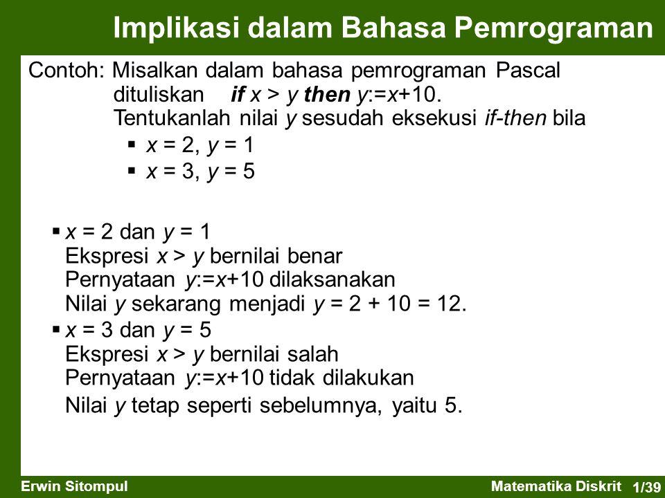 1/39 Erwin SitompulMatematika Diskrit Implikasi dalam Bahasa Pemrograman Contoh: Misalkan dalam bahasa pemrograman Pascal dituliskan if x > y then y:=
