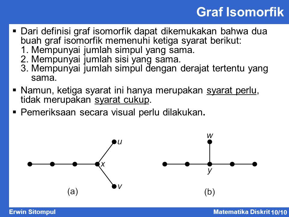 10/10 Erwin SitompulMatematika Diskrit Graf Isomorfik  Dari definisi graf isomorfik dapat dikemukakan bahwa dua buah graf isomorfik memenuhi ketiga s