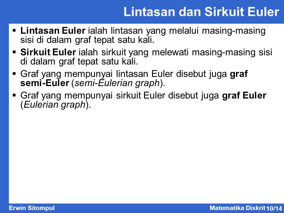 10/14 Erwin SitompulMatematika Diskrit Lintasan dan Sirkuit Euler  Lintasan Euler ialah lintasan yang melalui masing-masing sisi di dalam graf tepat