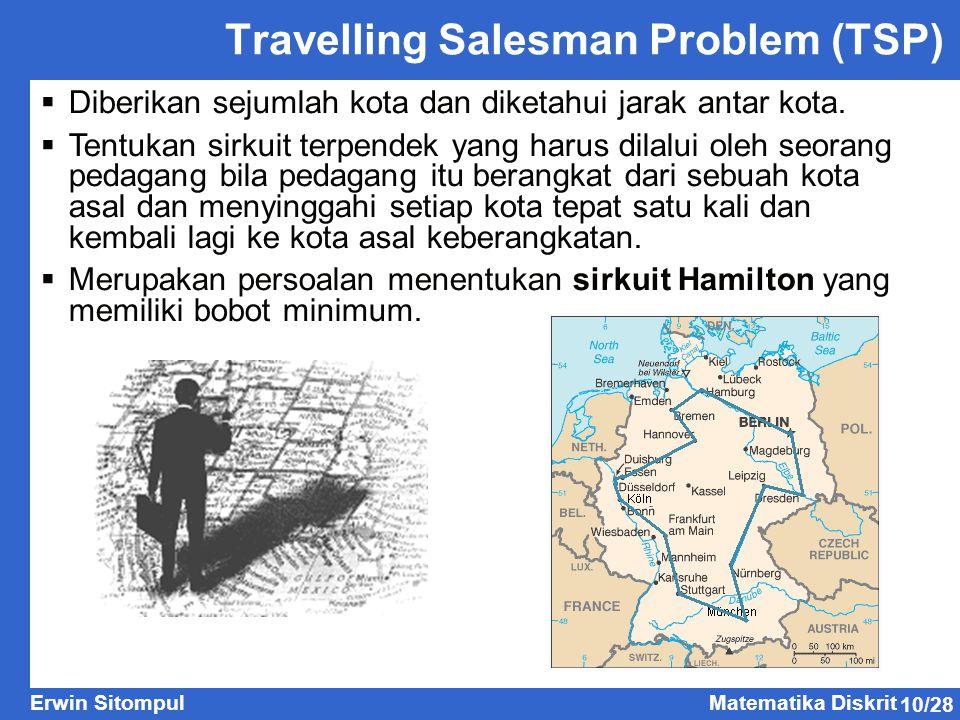 10/28 Erwin SitompulMatematika Diskrit Travelling Salesman Problem (TSP)  Diberikan sejumlah kota dan diketahui jarak antar kota.  Tentukan sirkuit
