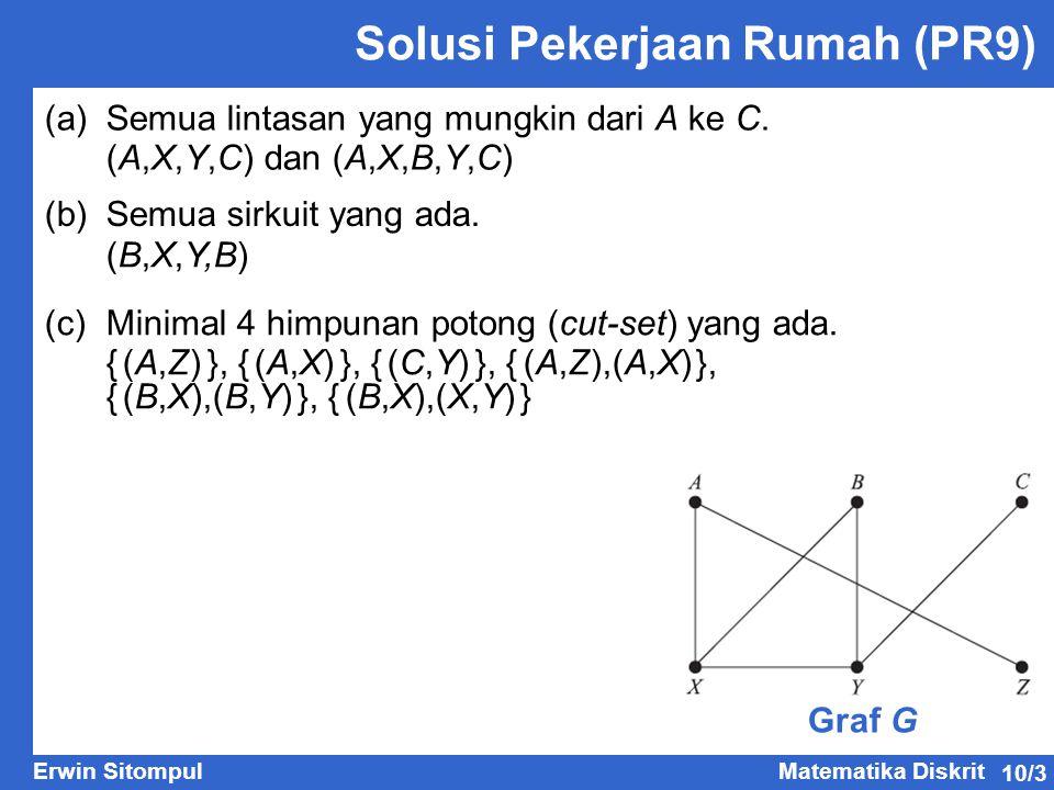 10/3 Erwin SitompulMatematika Diskrit Solusi Pekerjaan Rumah (PR9) (a)Semua lintasan yang mungkin dari A ke C. Graf G (A,X,Y,C) dan (A,X,B,Y,C) (b) Se