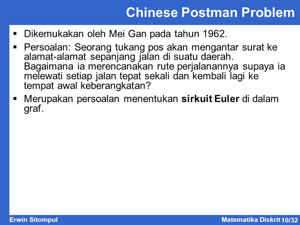 10/32 Erwin SitompulMatematika Diskrit Chinese Postman Problem  Dikemukakan oleh Mei Gan pada tahun 1962.  Persoalan: Seorang tukang pos akan mengan