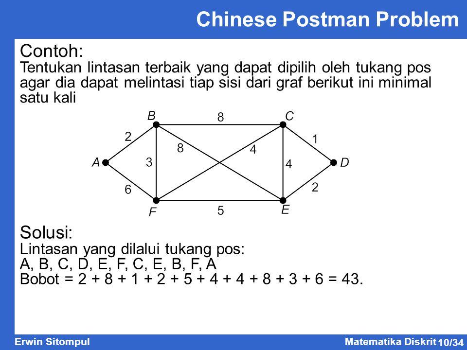 10/34 Erwin SitompulMatematika Diskrit Contoh: Tentukan lintasan terbaik yang dapat dipilih oleh tukang pos agar dia dapat melintasi tiap sisi dari graf berikut ini minimal satu kali Solusi: Lintasan yang dilalui tukang pos: A, B, C, D, E, F, C, E, B, F, A Bobot = 2 + 8 + 1 + 2 + 5 + 4 + 4 + 8 + 3 + 6 = 43.