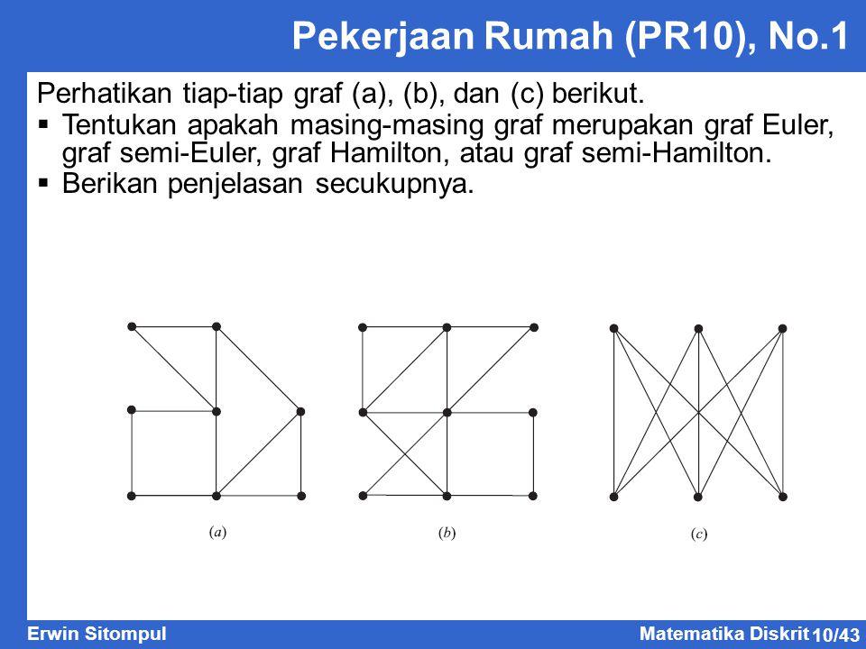 10/43 Erwin SitompulMatematika Diskrit Pekerjaan Rumah (PR10), No.1 Perhatikan tiap-tiap graf (a), (b), dan (c) berikut.  Tentukan apakah masing-masi