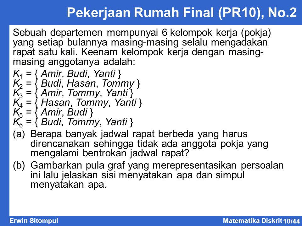 10/44 Erwin SitompulMatematika Diskrit Pekerjaan Rumah Final (PR10), No.2 Sebuah departemen mempunyai 6 kelompok kerja (pokja) yang setiap bulannya ma