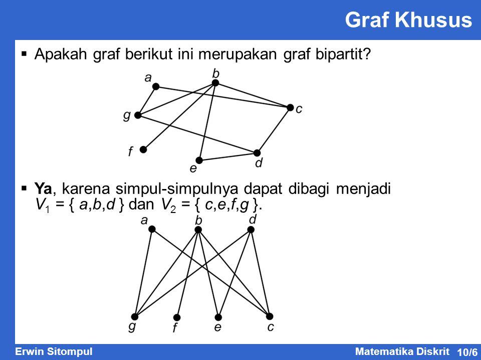 10/6 Erwin SitompulMatematika Diskrit  Apakah graf berikut ini merupakan graf bipartit? Graf Khusus  Ya, karena simpul-simpulnya dapat dibagi menjad