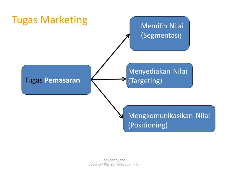 Tugas Pemasaran Memilih Nilai (Segmentasi ) Menyediakan Nilai (Targeting) Mengkomunikasikan Nilai (Positioning) Tugas Marketing Tony Soebijono Copyright Pearson Education Inc.