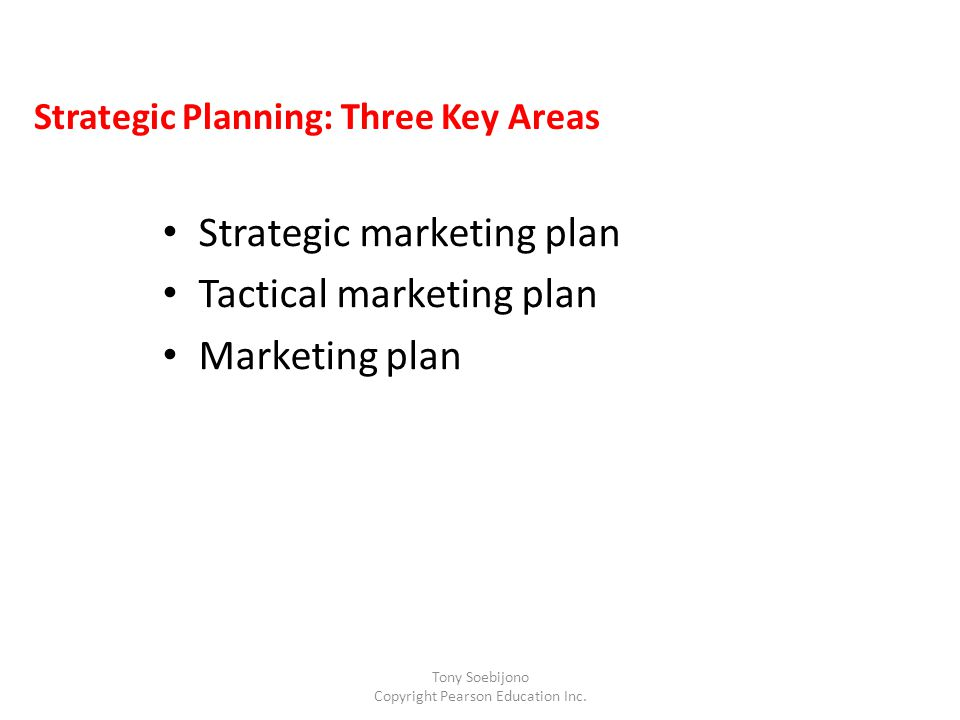 Strategic Planning: Three Key Areas Strategic marketing plan Tactical marketing plan Marketing plan Tony Soebijono Copyright Pearson Education Inc.