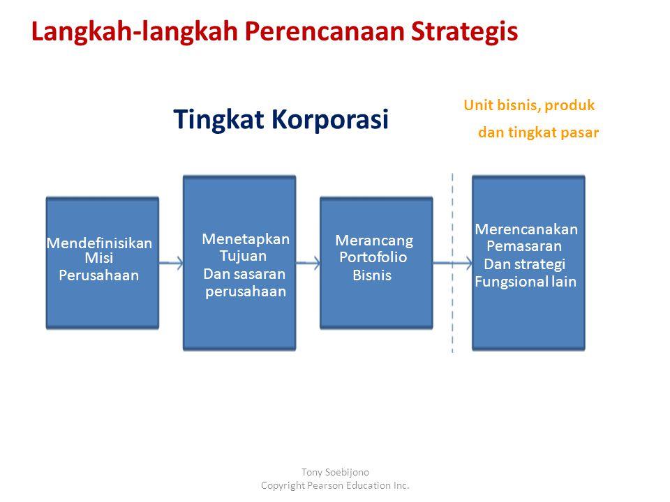 Mendefinisikan Misi Perusahaan Merencanakan Pemasaran Dan strategi Fungsional lain Merancang Portofolio Bisnis Menetapkan Tujuan Dan sasaran perusahaan Tingkat Korporasi Unit bisnis, produk dan tingkat pasar Langkah-langkah Perencanaan Strategis Tony Soebijono Copyright Pearson Education Inc.