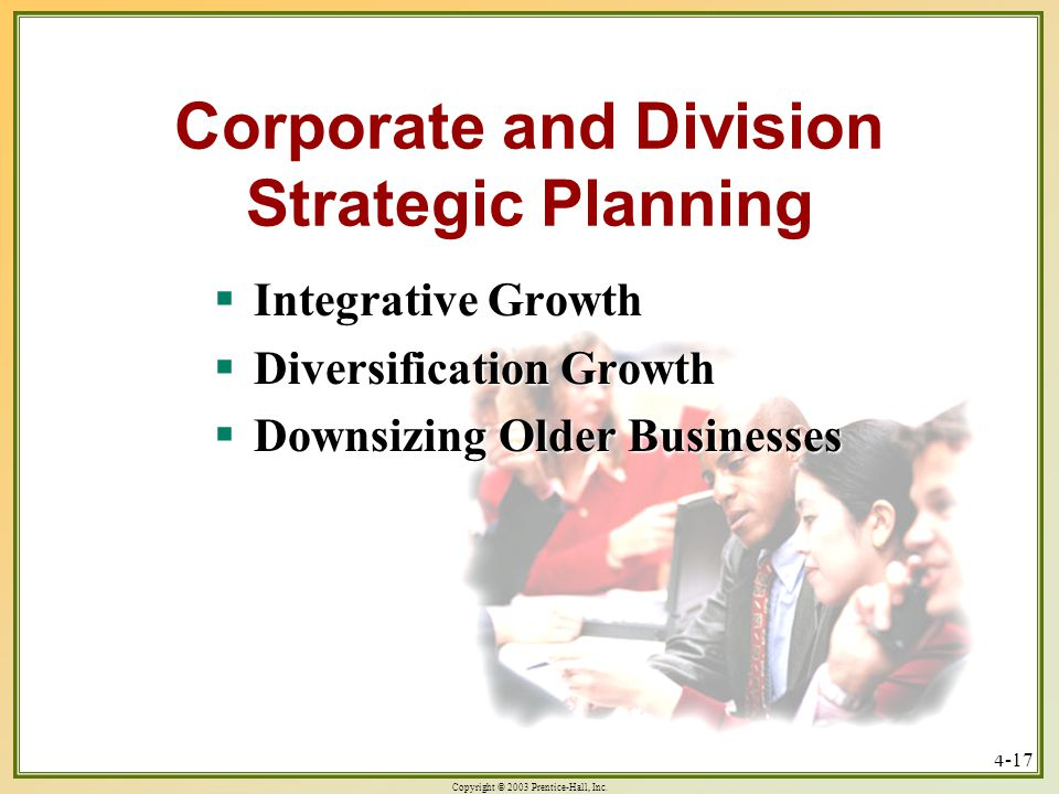 Copyright © 2003 Prentice-Hall, Inc. 4-17 Corporate and Division Strategic Planning  Integrative Growth  Diversification Growth  Downsizing Older B