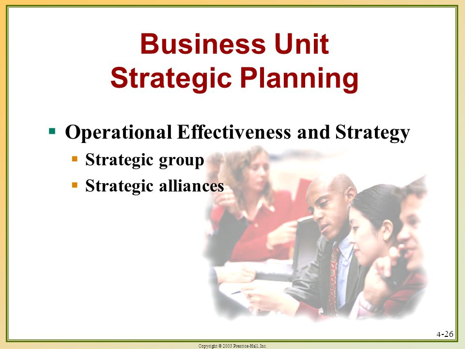 Copyright © 2003 Prentice-Hall, Inc. 4-26  Operational Effectiveness and Strategy  Strategic group  Strategic alliances Business Unit Strategic Pla