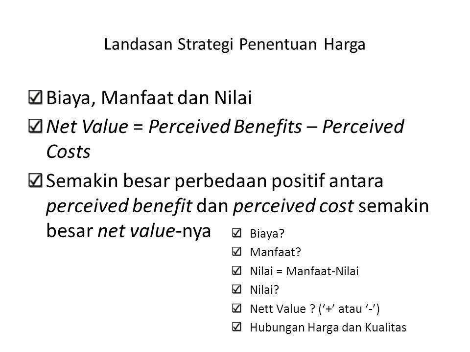 Landasan Strategi Penentuan Harga Biaya, Manfaat dan Nilai Net Value = Perceived Benefits – Perceived Costs Semakin besar perbedaan positif antara per