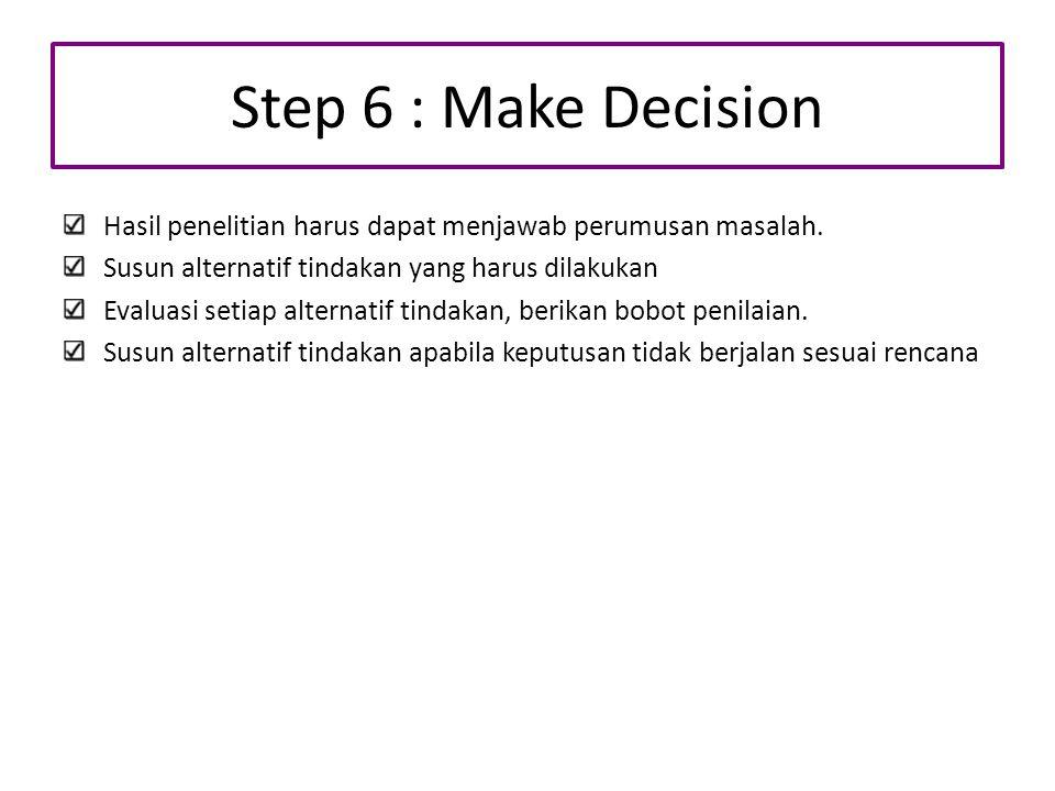 Step 6 : Make Decision Hasil penelitian harus dapat menjawab perumusan masalah. Susun alternatif tindakan yang harus dilakukan Evaluasi setiap alterna