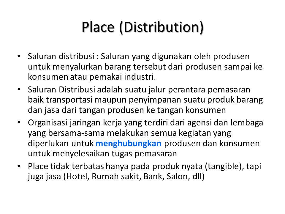 Jenis saluran distribusi Produsen  Konsumen (Umumnya Jasa) – Contoh : Bengkel, Rumah Makan, Pangkas Rambut, Salon, Dsb Produsen  Retailer  Konsumen – Contoh : Koran, Es Krim, Dll Produsen  Wholesaler  Retailer  Konsumen – Contoh : Mie Instan, Beras, Sayur-Mayur, Minuman Dalam Kemasan, dll Produsen  Agen  Wholesaler  Retailer  Konsumen – Contoh : Barang Impor Produsen  Industri (Produsen) – Contoh : Pabrik mie telor menjual produknya ke pedagang mie ayam gerobak keliling.