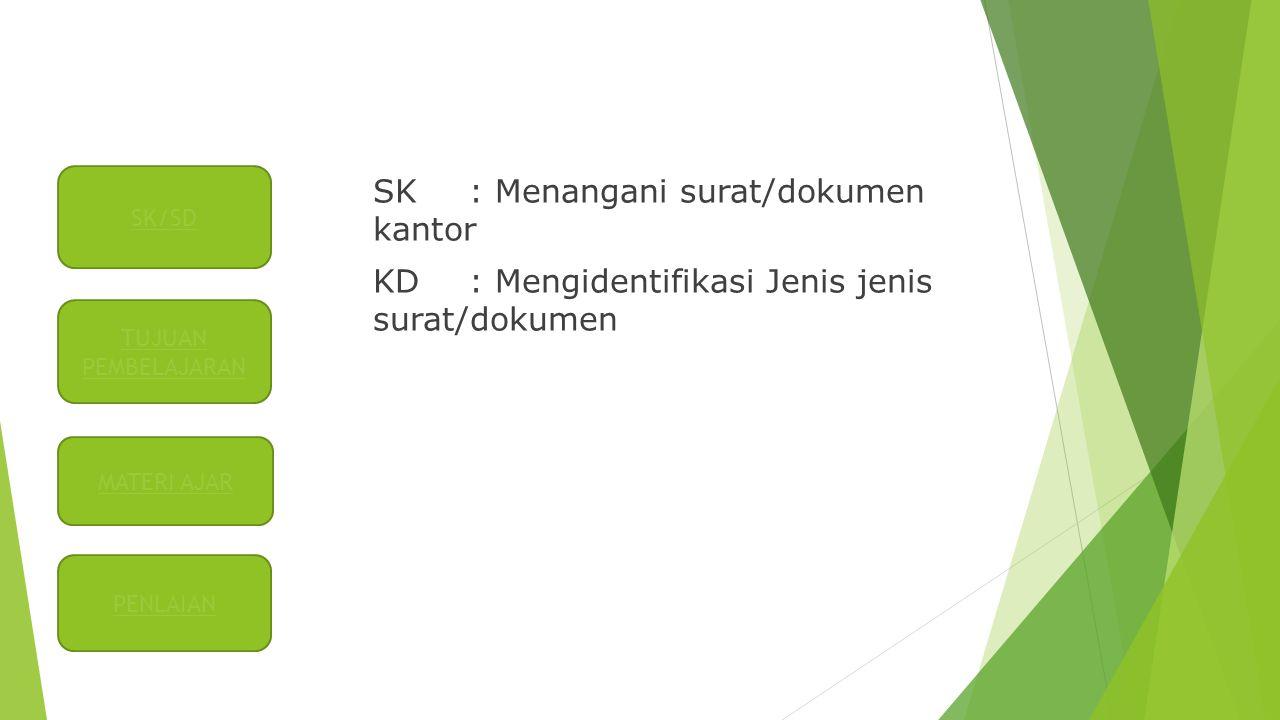 SK : Menangani surat/dokumen kantor KD: Mengidentifikasi Jenis jenis surat/dokumen SK/SD TUJUAN PEMBELAJARAN PENLAIAN MATERI AJAR