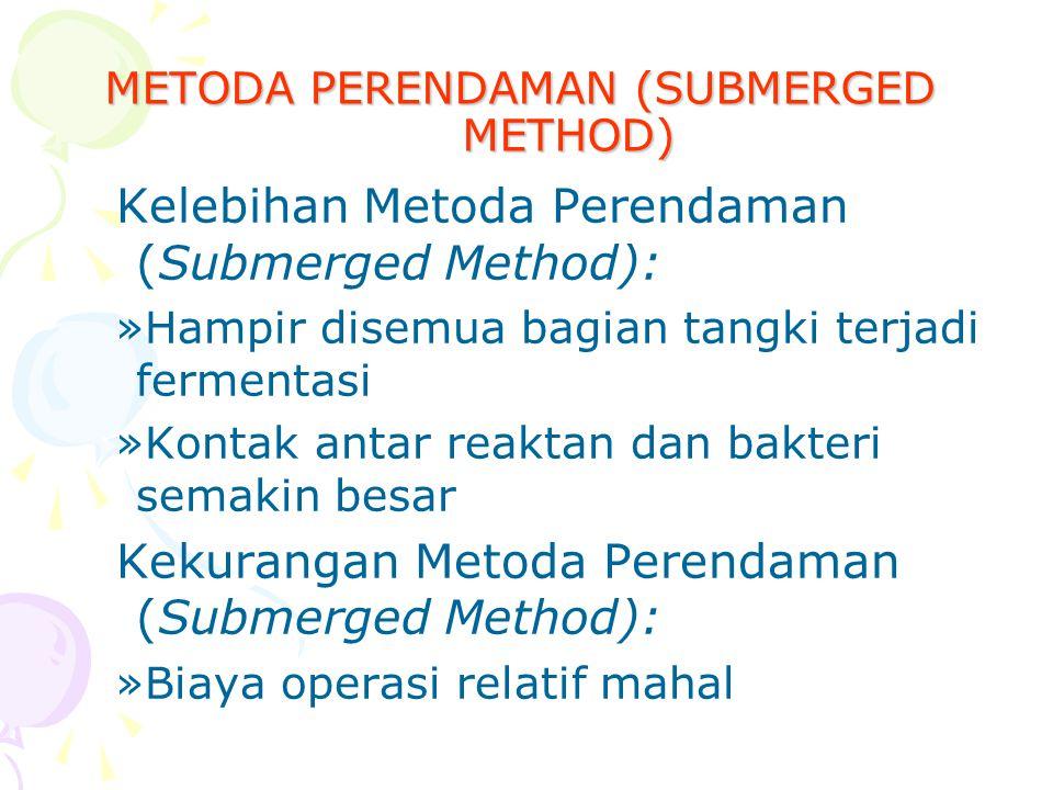 METODA PERENDAMAN (SUBMERGED METHOD) Kelebihan Metoda Perendaman (Submerged Method): »Hampir disemua bagian tangki terjadi fermentasi »Kontak antar re