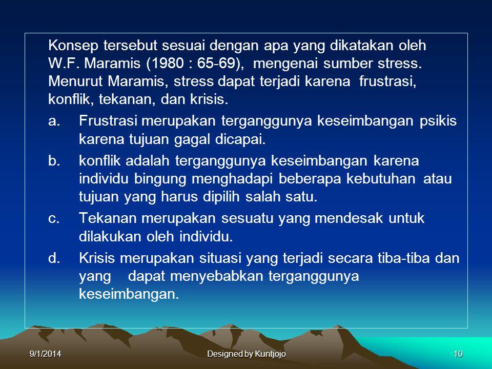 Konsep tersebut sesuai dengan apa yang dikatakan oleh W.F. Maramis (1980 : 65-69), mengenai sumber stress. Menurut Maramis, stress dapat terjadi karen