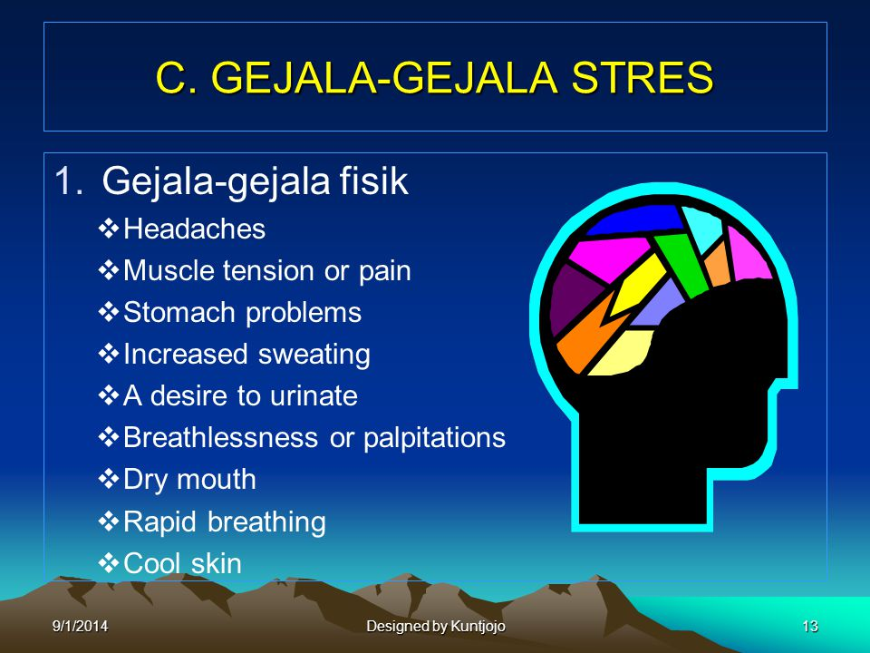 C. GEJALA-GEJALA STRES 1.Gejala-gejala fisik  Headaches  Muscle tension or pain  Stomach problems  Increased sweating  A desire to urinate  Brea