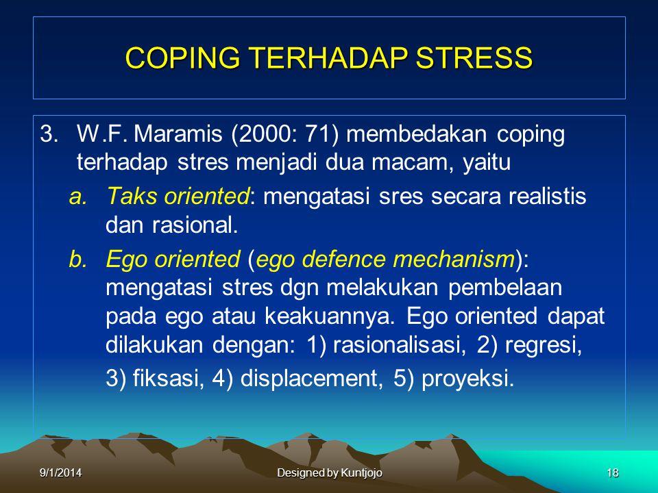COPING TERHADAP STRESS 3.W.F. Maramis (2000: 71) membedakan coping terhadap stres menjadi dua macam, yaitu a.Taks oriented: mengatasi sres secara real