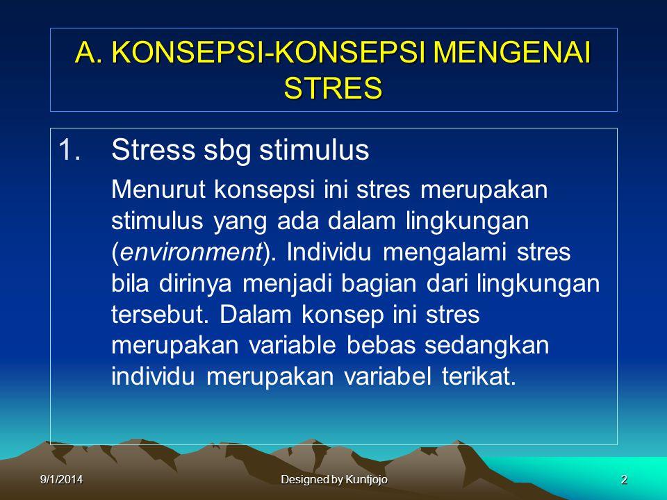 A. KONSEPSI-KONSEPSI MENGENAI STRES 1.Stress sbg stimulus Menurut konsepsi ini stres merupakan stimulus yang ada dalam lingkungan (environment). Indiv