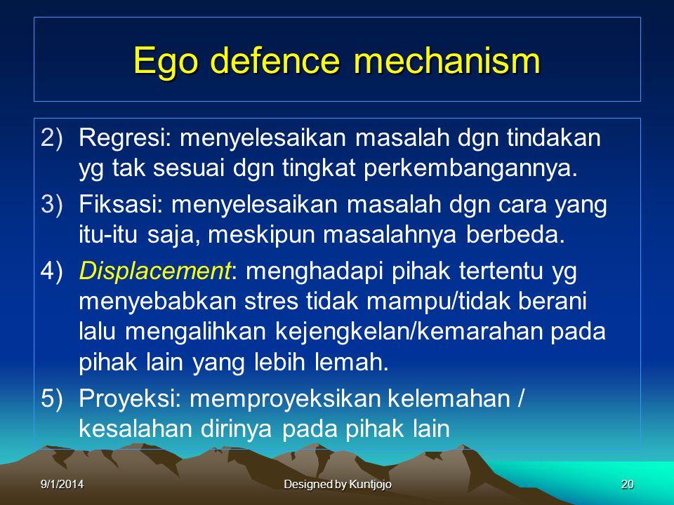 Ego defence mechanism 2)Regresi: menyelesaikan masalah dgn tindakan yg tak sesuai dgn tingkat perkembangannya. 3)Fiksasi: menyelesaikan masalah dgn ca