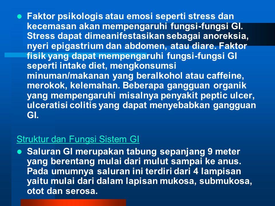 Faktor psikologis atau emosi seperti stress dan kecemasan akan mempengaruhi fungsi-fungsi GI. Stress dapat dimeanifestasikan sebagai anoreksia, nyeri