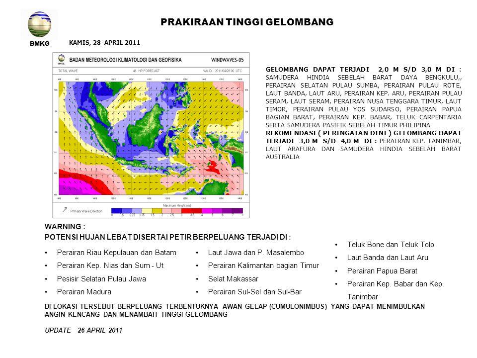 BMKG PRAKIRAAN TINGGI GELOMBANG WARNING : POTENSI HUJAN LEBAT DISERTAI PETIR BERPELUANG TERJADI DI : Selat Malaka Perairan Aceh dan Sum - Ut Pesisir Sumatera bagian Timur Pesisir Selatan Pulau Jawa Laut Jawa bagian Timur JUM'AT 29 APRIL 2011 Perairan Gorontalo Teluk Bone dan Teluk Tolo Perairan Sulawesi Tenggara Perairan Sulawesi barat Laut Seram dan Laut Banda Perairan Sulawesi Tengah Perairan Papua Barat Perairan Kep.