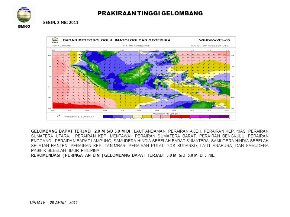 BMKG PRAKIRAAN TINGGI GELOMBANG SENIN, 2 MEI 2011 UPDATE 26 APRIL 2011 GELOMBANG DAPAT TERJADI 2,0 M S/D 3,0 M DI : LAUT ANDAMAN, PERAIRAN ACEH, PERAIRAN KEP.