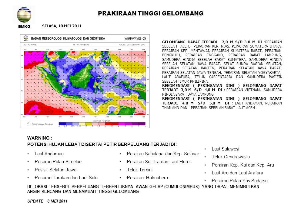 BMKG PRAKIRAAN TINGGI GELOMBANG WARNING : POTENSI HUJAN LEBAT DISERTAI PETIR BERPELUANG TERJADI DI : Laut Andaman Pesisir Barat Aceh Pesisir Selatan Jawa Perairan Bali dan Laut Bali RABU, 11 MEI 2011 Perairan Gorontalo Perairan Kep.