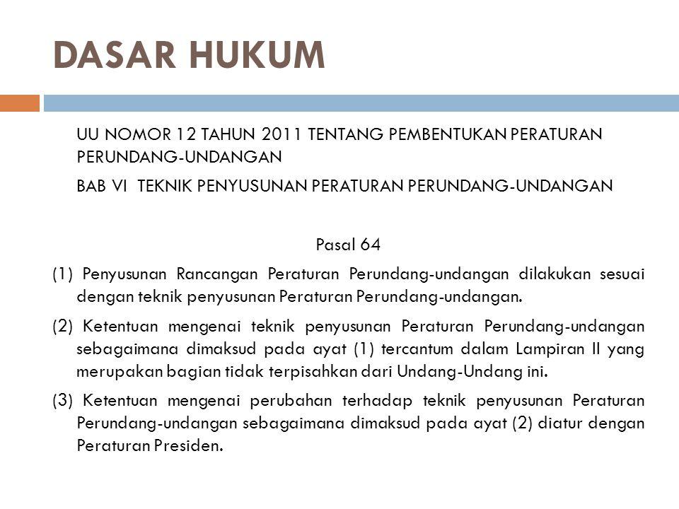 DASAR HUKUM UU NOMOR 12 TAHUN 2011 TENTANG PEMBENTUKAN PERATURAN PERUNDANG-UNDANGAN BAB VI TEKNIK PENYUSUNAN PERATURAN PERUNDANG-UNDANGAN Pasal 64 (1)