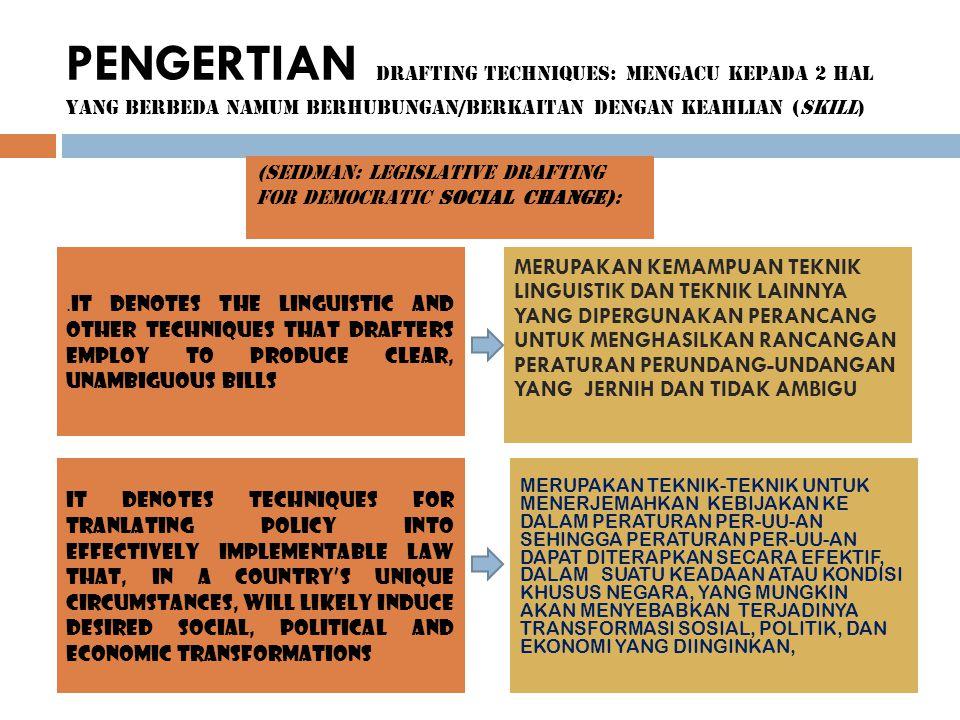 PENGERTIAN DRAFTING TECHNIQUES: MENGACU KEPADA 2 HAL YANG BERBEDA NAMUM BERHUBUNGAN/BERKAITAN DENGAN KEAHLIAN (SKILL) (SEIDMAN: LEGISLATIVE DRAFTING F