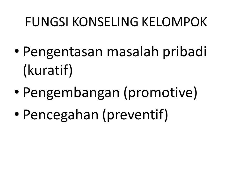 FUNGSI KONSELING KELOMPOK Pengentasan masalah pribadi (kuratif) Pengembangan (promotive) Pencegahan (preventif)