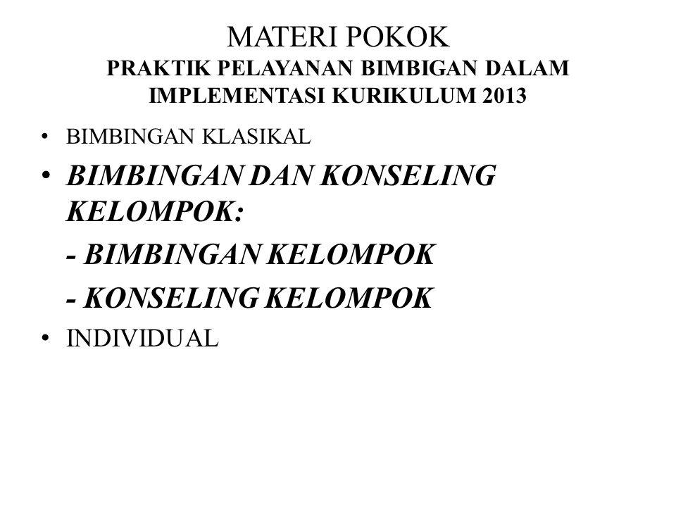 MATERI POKOK PRAKTIK PELAYANAN BIMBIGAN DALAM IMPLEMENTASI KURIKULUM 2013 BIMBINGAN KLASIKAL BIMBINGAN DAN KONSELING KELOMPOK: - BIMBINGAN KELOMPOK -