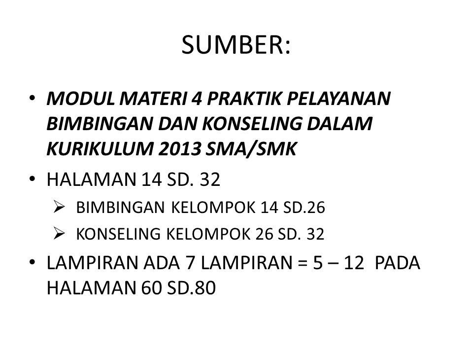 SUMBER: MODUL MATERI 4 PRAKTIK PELAYANAN BIMBINGAN DAN KONSELING DALAM KURIKULUM 2013 SMA/SMK HALAMAN 14 SD. 32  BIMBINGAN KELOMPOK 14 SD.26  KONSEL