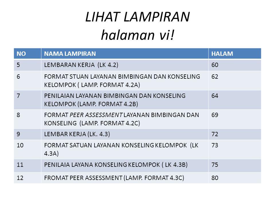 LIHAT LAMPIRAN halaman vi! NONAMA LAMPIRANHALAM 5LEMBARAN KERJA (LK 4.2)60 6FORMAT STUAN LAYANAN BIMBINGAN DAN KONSELING KELOMPOK ( LAMP. FORMAT 4.2A)